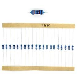 20x Résistances métal ¼W - 0.25w - 1% - 33Kohm 33K ohm - 60res179