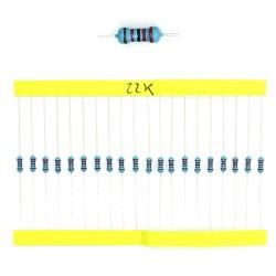 20x Résistances métal ¼W - 0.25w - 1% - 22Kohm 22K ohm - 60res180