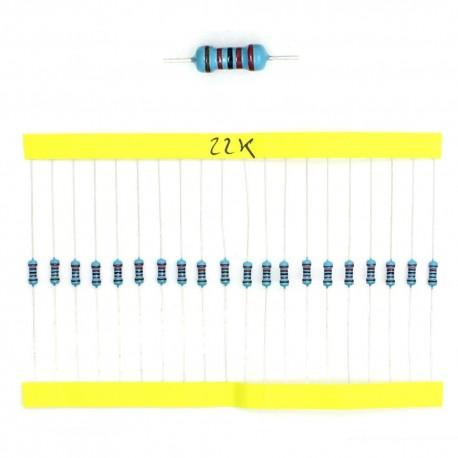 20x Résistances métal ¼W - 0.25w - 1% - 22Kohm 22K ohm