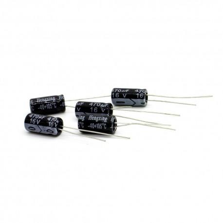 5x Condensateur chimique radial 470uF 16V 6x11mm