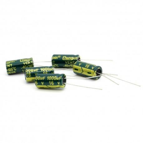 5x Condensateur chimique 1000uF 16V 8x16mm