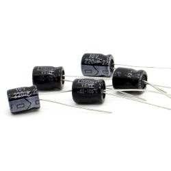 5x Condensateur chimique radial 220uF 10V 6x8mm - 64con166