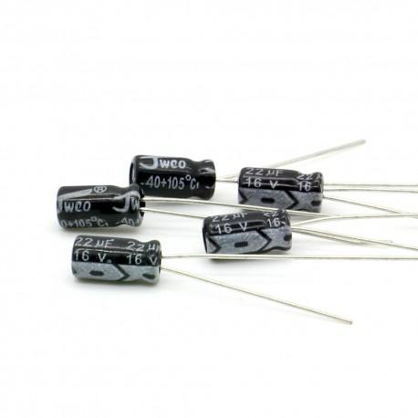 5x Condensateur chimique radial 22uF 16V 4x7mm