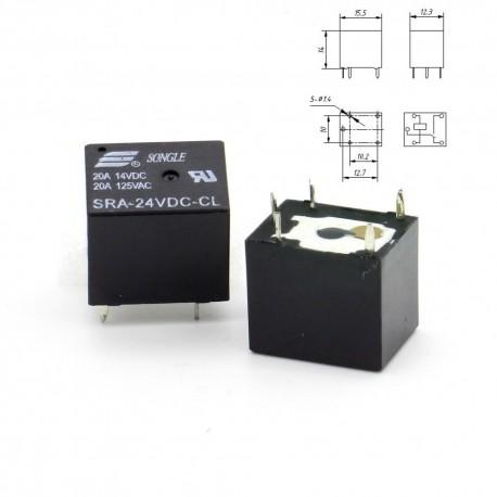 Relais puissance 24v SRA-24VDC-CL 20A - SPTD - 5 pins T74
