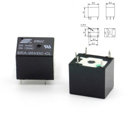 Relais puissance 5v SRA-05VDC-CL 20A - SPTD - 5 pins T74