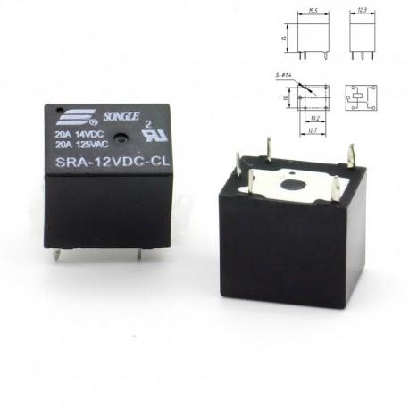 Relais puissance 12v SRA-12VDC-CL 20A - SPTD - 5 pins T74