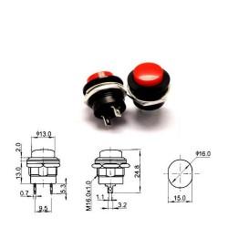 Commutateur Rond R13-507 - bouton poussoir - 3A - 250V - 75int007