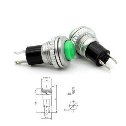 2x Commutateur DS-316 Vert - switch - bouton poussoir - 0.5A - 250V - 76int010