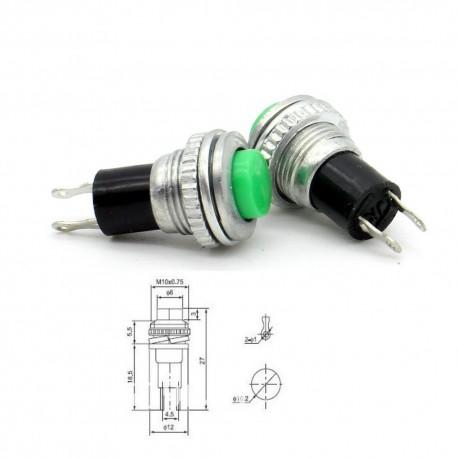 2x Commutateur DS-316 vert - switch - bouton poussoir - 0.5A - 250V