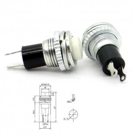 2x Commutateur DS-316 blanc - switch - bouton poussoir - 0.5A - 250V