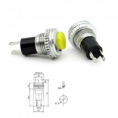 2x Commutateur DS-316 Jaune - switch - bouton poussoir - 0.5A - 250V