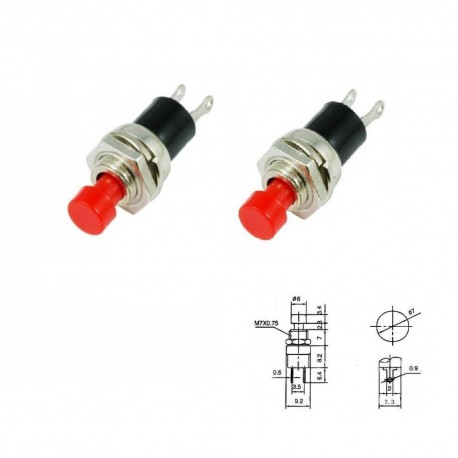 2x mini Commutateur PBS-110 Rouge - switch - bouton poussoir - 0.5A - 250V