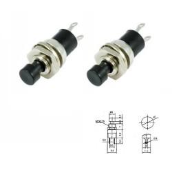 2x Commutateur PBS-110 Noir - switch - bouton poussoir - 0.5A - 250V - 77int014