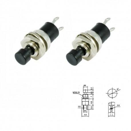2x Commutateur PBS-110 Noir - switch - bouton poussoir - 0.5A - 250V