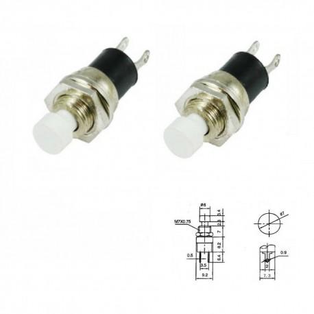 2x Commutateur PBS-110 blanc - switch - bouton poussoir - 0.5A - 250V