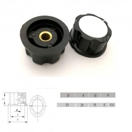 Bouchon potentiomètre 33mm - trou de 6mm Bakèlite noir - vis serrage