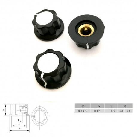 Bouchon potentiomètre 19.5 mm - trou de 6mm Bakèlite - vis serrage RV16