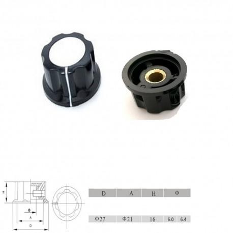 Bouchon potentiomètre 27 mm - trou de 6mm Bakèlite - vis serrage