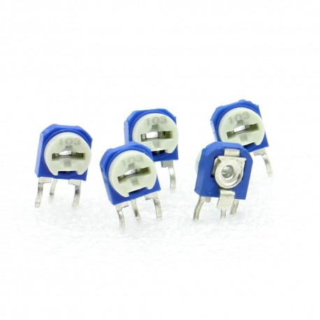 5x Trimmer 103 - 10k ohms - 100mW Resistance Variable - Rm-63