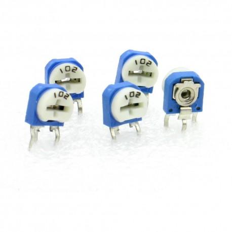 5x Trimmer 102 - 1k ohms - 100mW Resistance Variable - Rm-63 - 86pot034