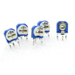 5x Trimmer 104 - 100k ohms - 100mW Resistance Variable - rm-63 - 86pot035
