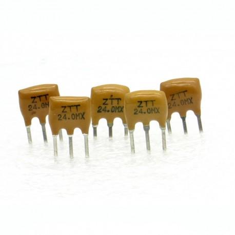 5x Résonateur céramique CQ 24.0MHZ - ZTT24.00MX-LF - 3-PINS