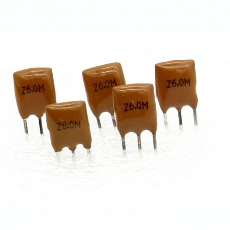 5x Résonateur céramique CQ 6.0MHZ - ZTT6.00MGW-LF - 3-PINS