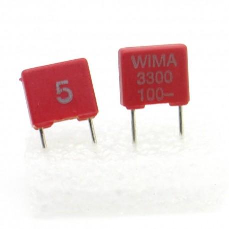 2x Condensateur film PET WIMA 3.3nF 0.0033uF 100V 5% - FKS2