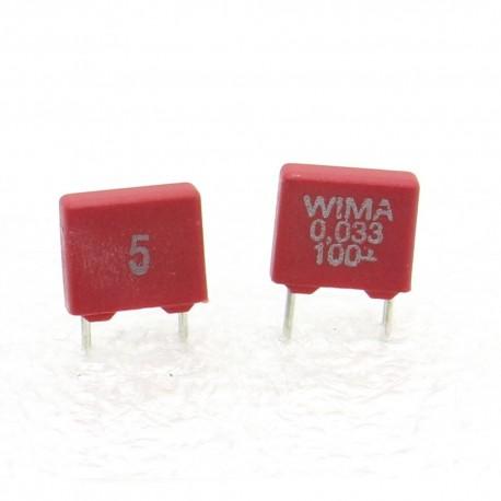 2x Condensateur polyester PET WIMA 33nF 100V 5% - MKS2