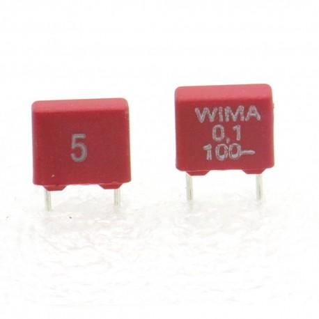 2xCondensateur polyester PET WIMA 100nF 100V 5% - MKS2