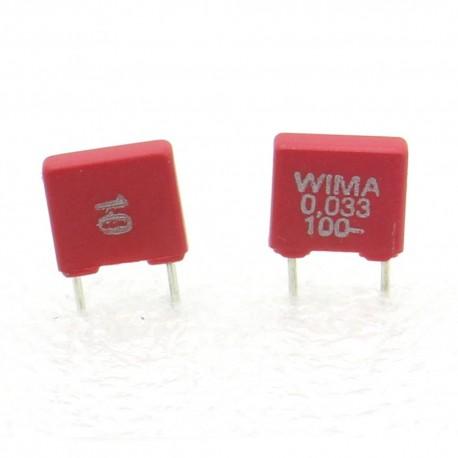2x Condensateur polyester PET WIMA 33nF 100V 10% - MKS2