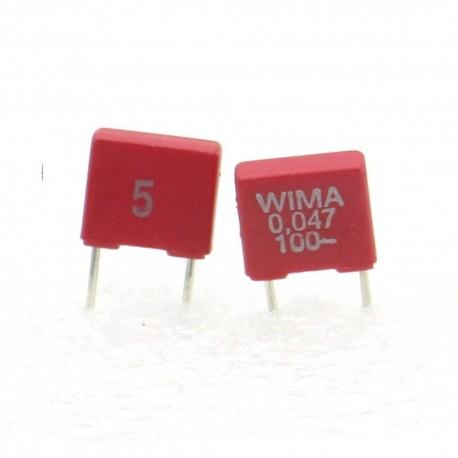 2x Condensateur polyester PET WIMA 47nF - 100V 5% - MKS2