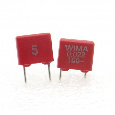 2x Condensateur film Polyethylene PET WIMA 22nF 0.022uF 100V 5% - MKS2
