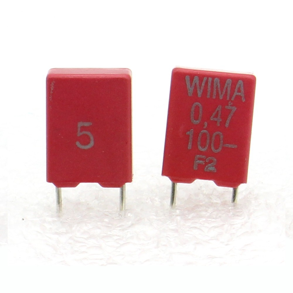 MKS2-107con282 2x Condensateur Film Box PET  WIMA 1uF 100V 10/%