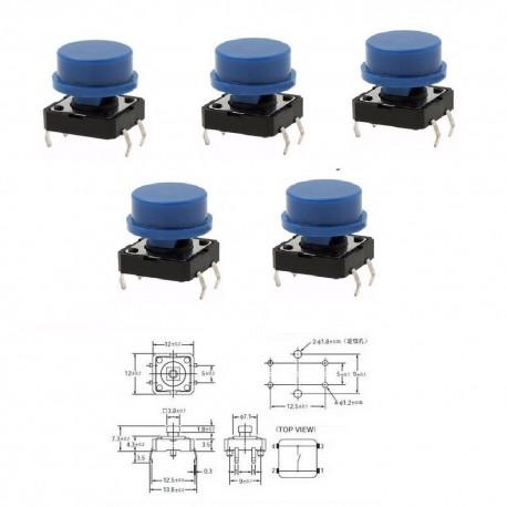 5x switch - reset - bouton poussoir avec capuchon bleu - arduino 12x12x7mm