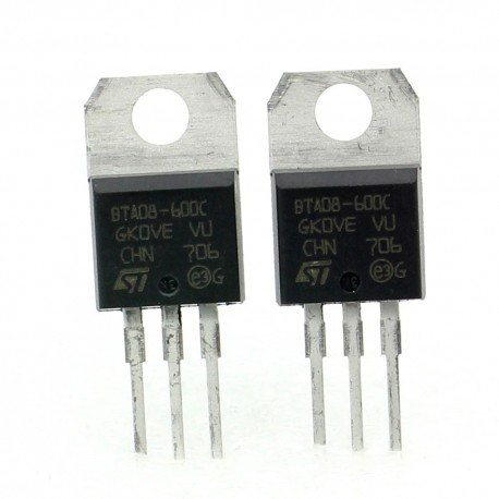2x Triac BTA08-600C BTA08-600 - 600V 8A - STMicroelectronics