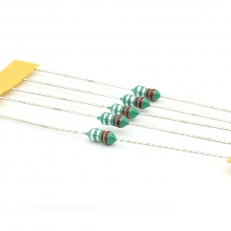 5x Inductance 0.22uH ±10% Axial - TOP-VIEW COILS