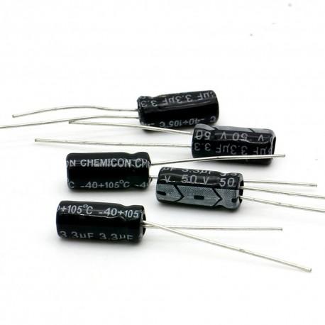 5x Condensateur électrolytique radial 3.3uF 50V 5x11mm