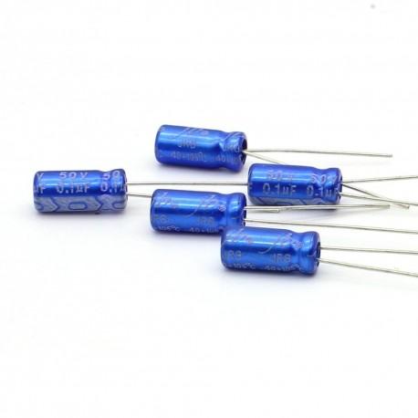 5x Condensateur electrolitique radial 0.1uF 50V 5x11mm