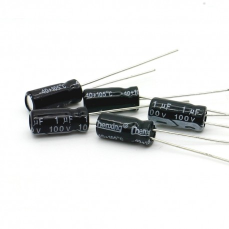 5x Condensateur electrolitique radial 1uF 100V 5x11mm