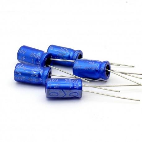 5x Condensateur electrolitique radial 1uF 250V 6x12mm