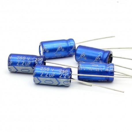 5x Condensateur electrolitique JB Capacitors radial 2.2uF 250V 6x11mm