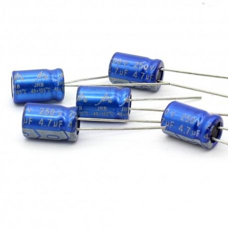 5x Condensateur electrolitique JB Capacitors radial 4.7uF 250V 8x12mm