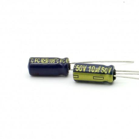 2x Condensateur chimique 10uF 50V - Panasonic FC 5x11mm