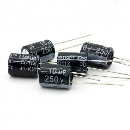 5x Condensateur electrolitique radial 10uF 250V 10x13mm