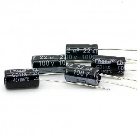 5x Condensateur electrolitique radial 22uF 100V 6.3x12mm