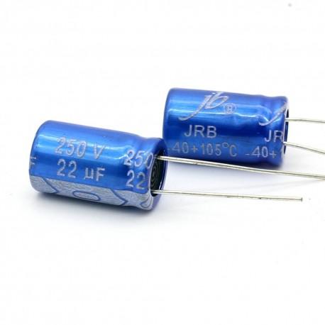 2x Condensateur electrolitique JB Capacitors radial 22uF 250V 10x17mm