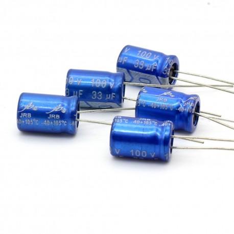 5x Condensateur electrolitique JB Capacitors radial 33uF 100V 8x12mm