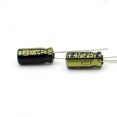 2x Condensateur electrolitique Panasonic FM radial 47uF 25V 5x11mm
