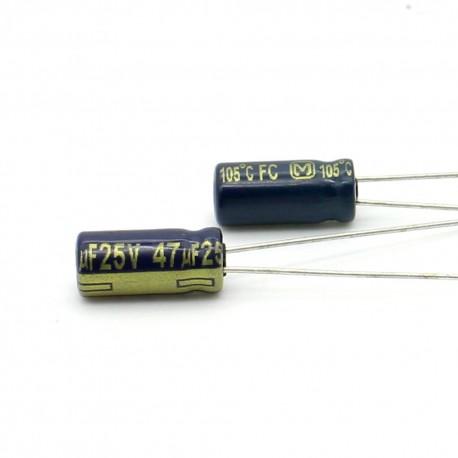 2x Condensateur electrolitique Panasonic FC 47uF 25V 5x11mm